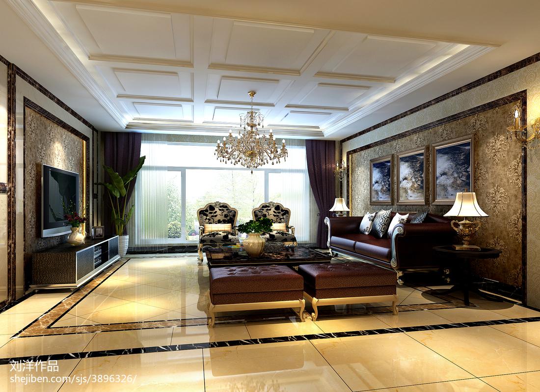 热门99平米三居客厅欧式装修欣赏图