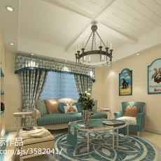 2018130平米地中海复式客厅装修实景图片大全