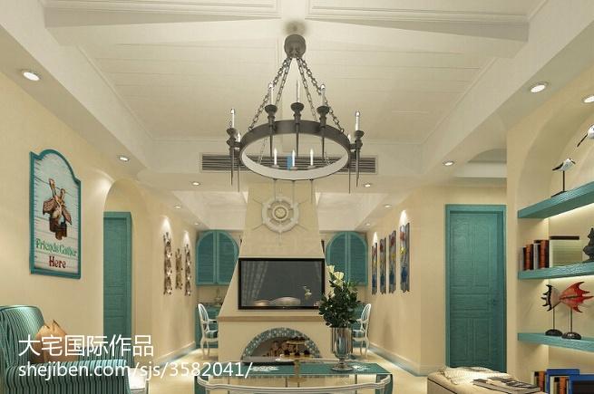 2018地中海复式客厅实景图