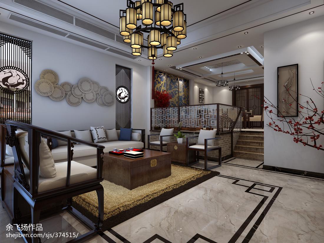精美123平方中式别墅客厅装修实景图