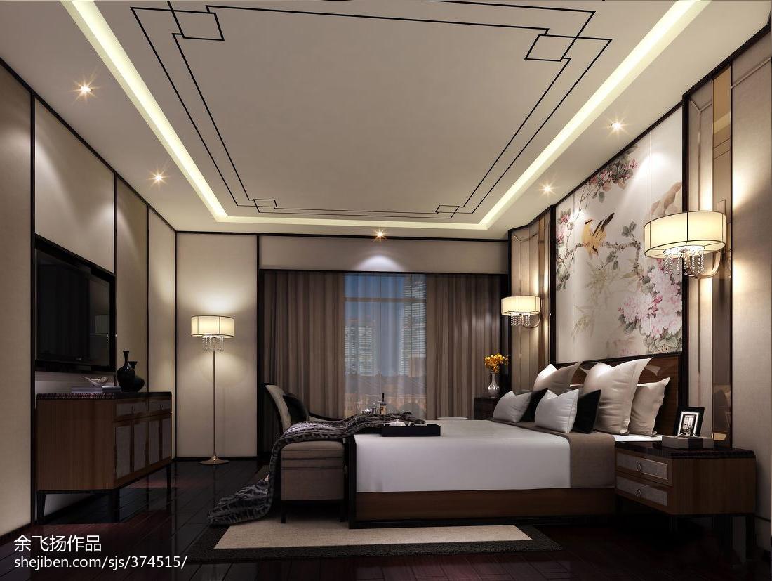 117平米中式别墅卧室效果图