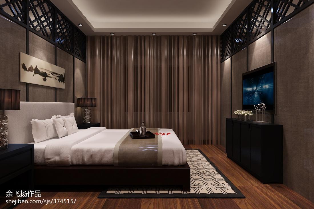 面积128平别墅卧室中式装修欣赏图片大全
