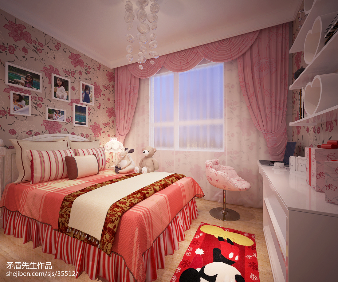 精选91平米三居儿童房现代装修效果图