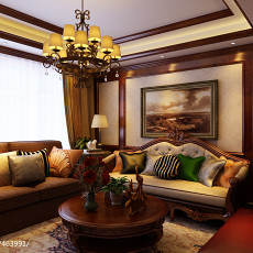 2018精选103平米三居客厅美式装修图片欣赏