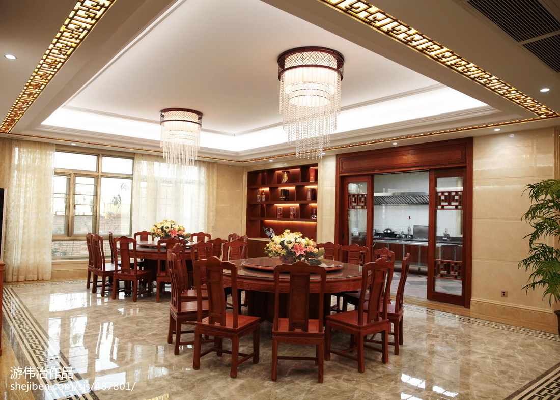 2018精选129平米中式别墅餐厅装修图片欣赏