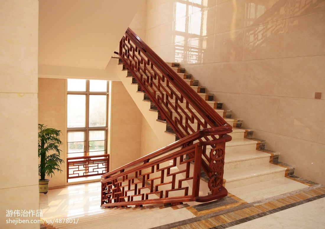 中式别墅楼梯装修设计效果图大全
