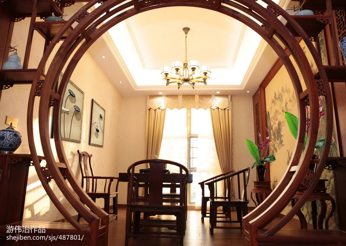 热门144平米中式别墅休闲区设计效果图