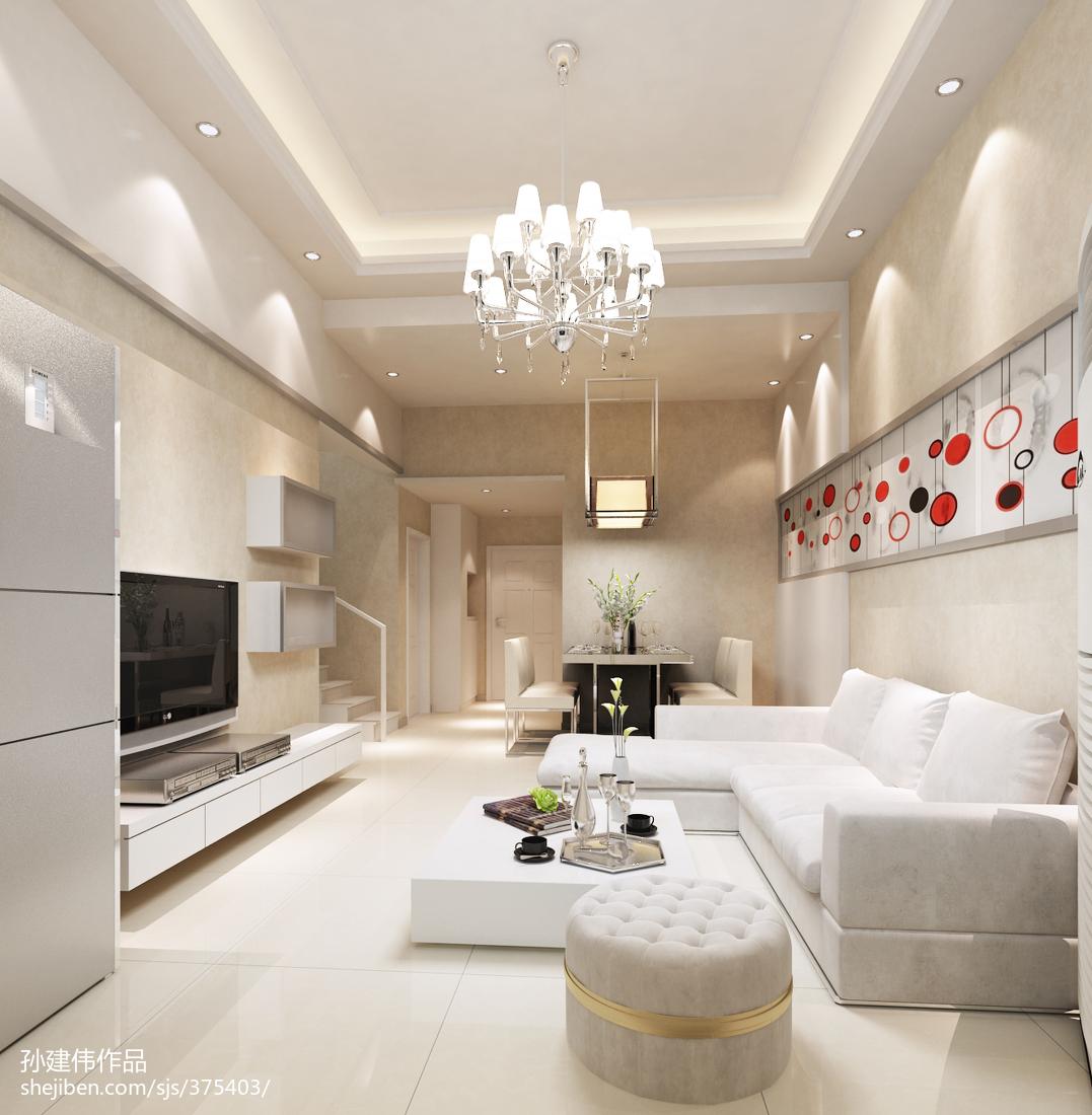 热门117平米现代复式装修设计效果图片欣赏