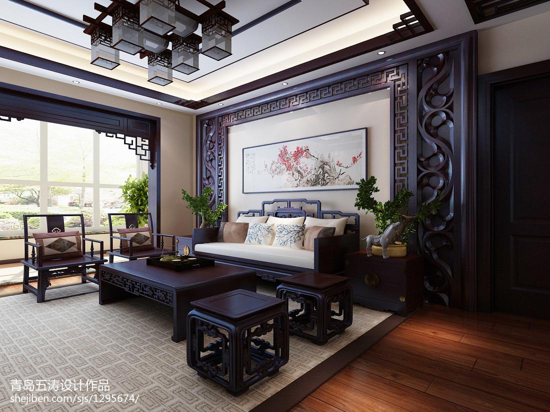 精选大小106平中式三居客厅装修图