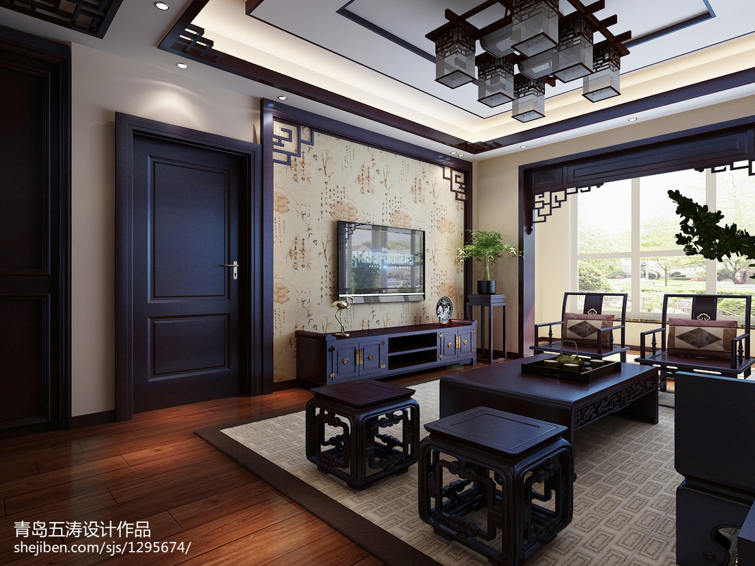 96平方三居客厅中式装修设计效果图