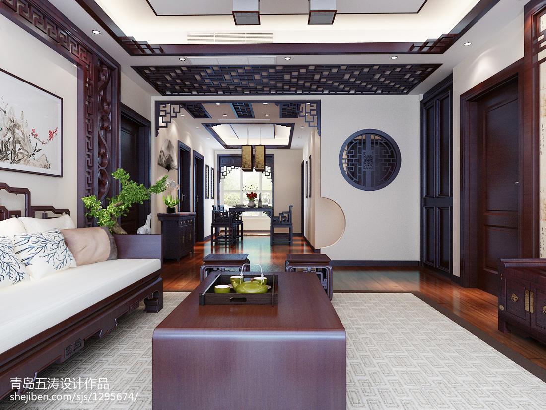 面积92平中式三居客厅装修欣赏图片大全