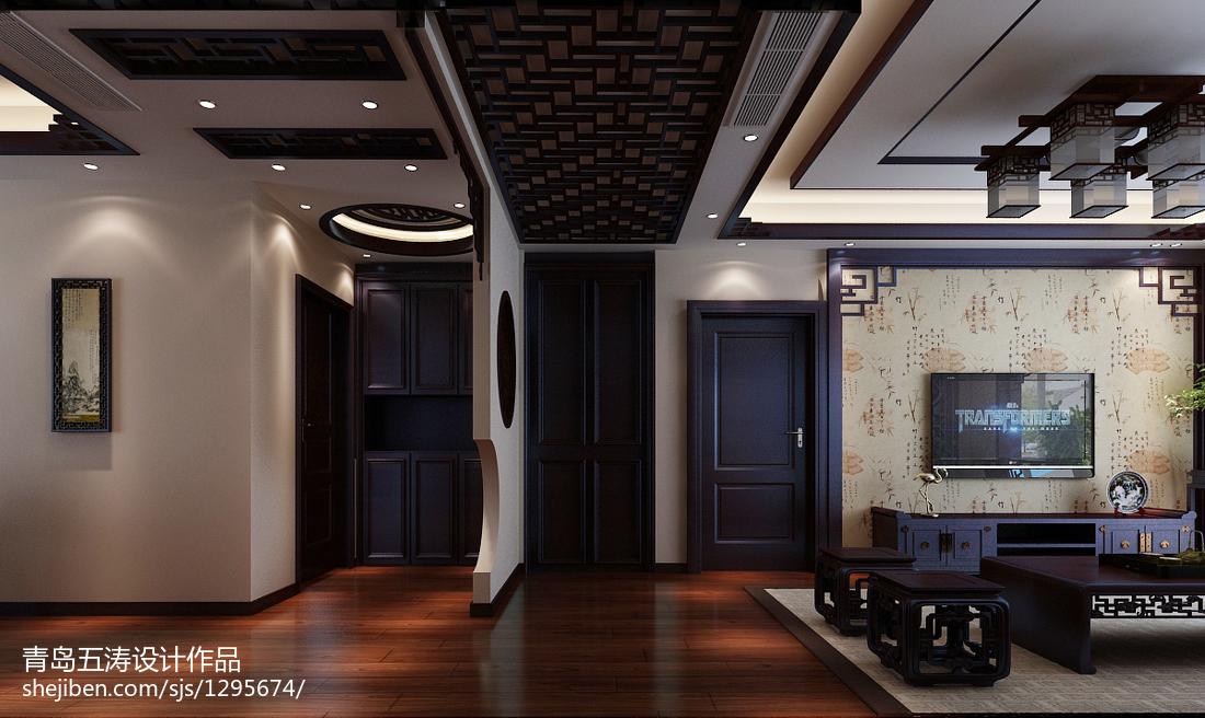 2018面积93平中式三居客厅装修实景图片欣赏
