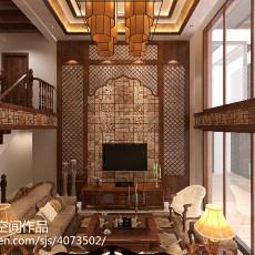 面积126平复式客厅东南亚装修效果图片欣赏