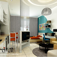 精美82平米现代小户型客厅实景图