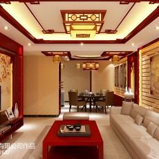 热门103平米三居客厅中式装修实景图片欣赏