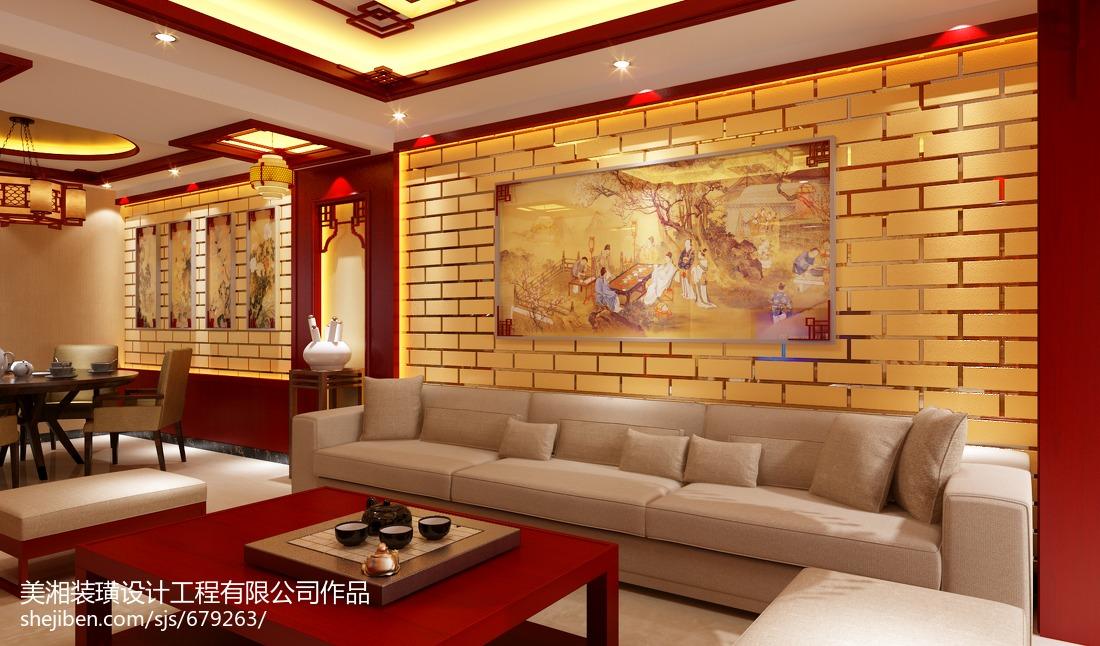 中式电视背景墙壁画效果图