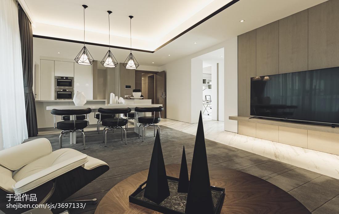 現代風格樣板房客廳電視背景墻裝修設計