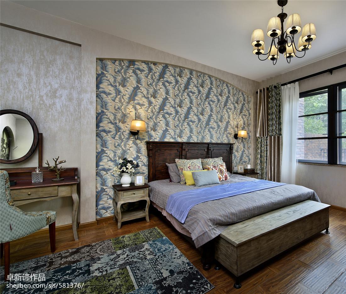 别墅美式卧室背景墙装修设计