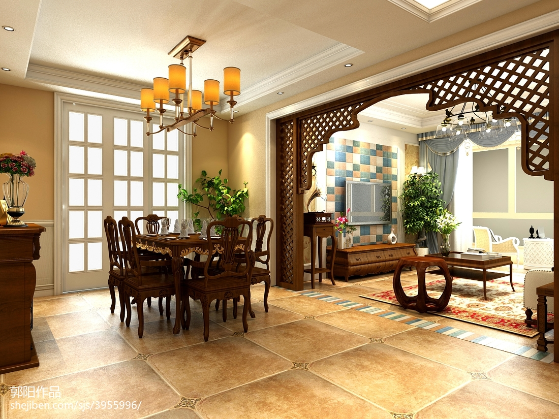 精美面积101平美式三居餐厅欣赏图片