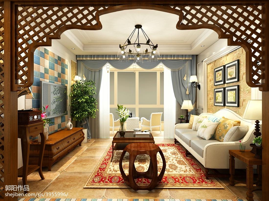 精选面积97平美式三居客厅装修图片