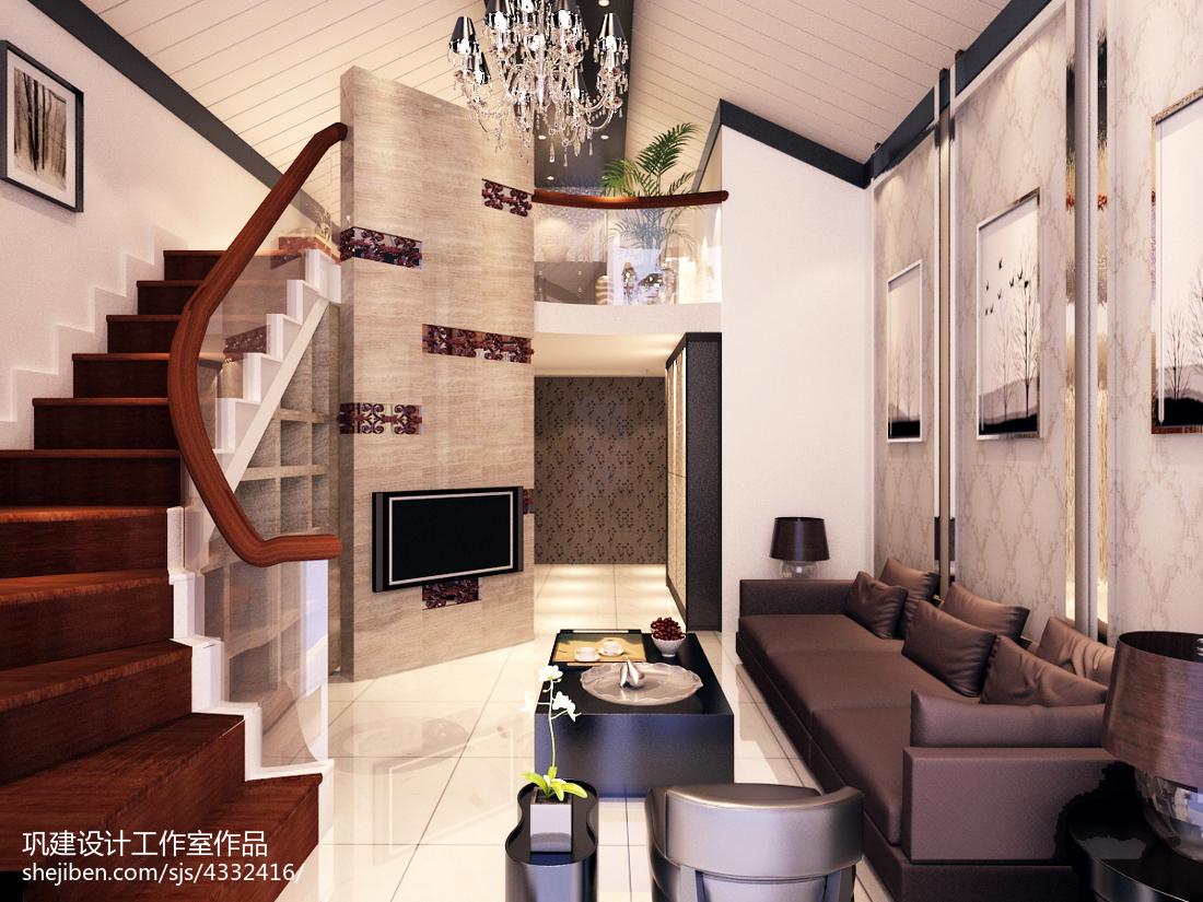 120平米中式复式客厅实景图片大全