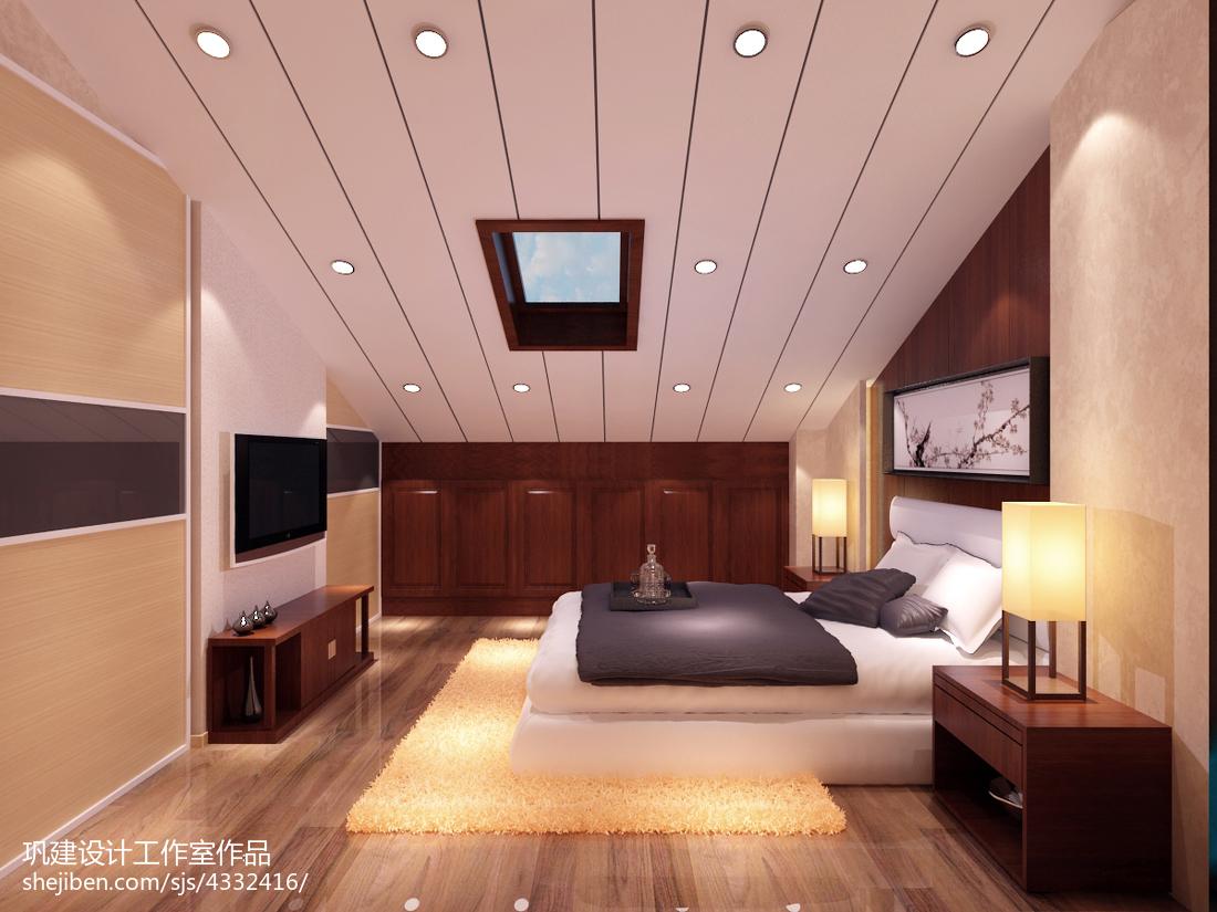 精美面积112平复式卧室中式装修图