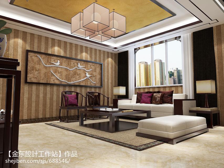 74.3平热门客厅中式装修设计效果图片