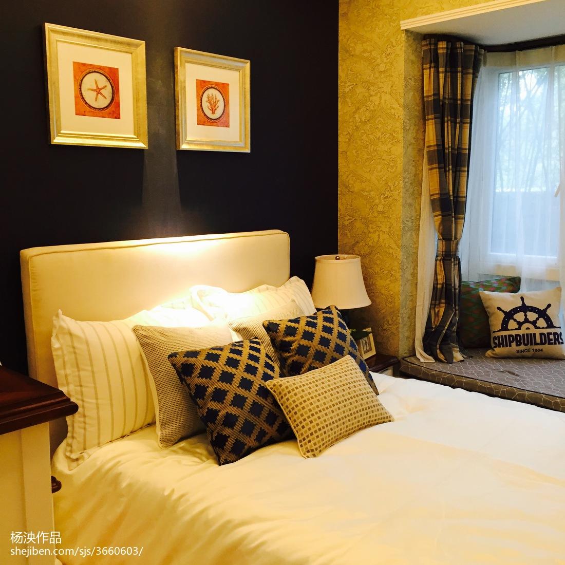 蓝色夏日地中海卧室布置
