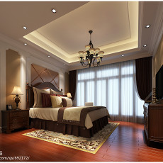 精美四居卧室美式装修实景图