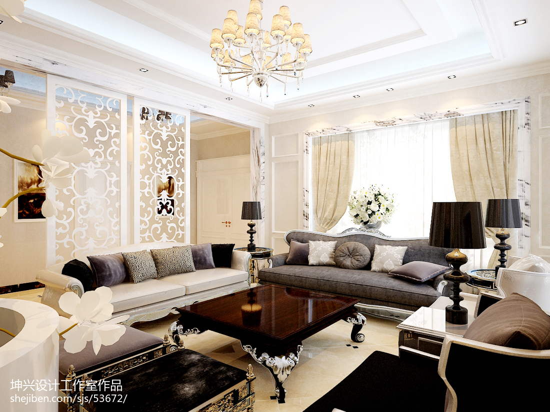 精选面积144平别墅客厅欧式装修欣赏图