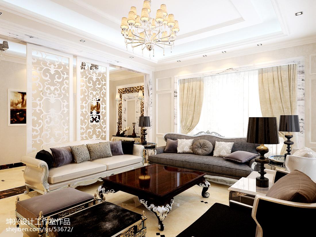精选面积114平别墅客厅欧式装修效果图片欣赏