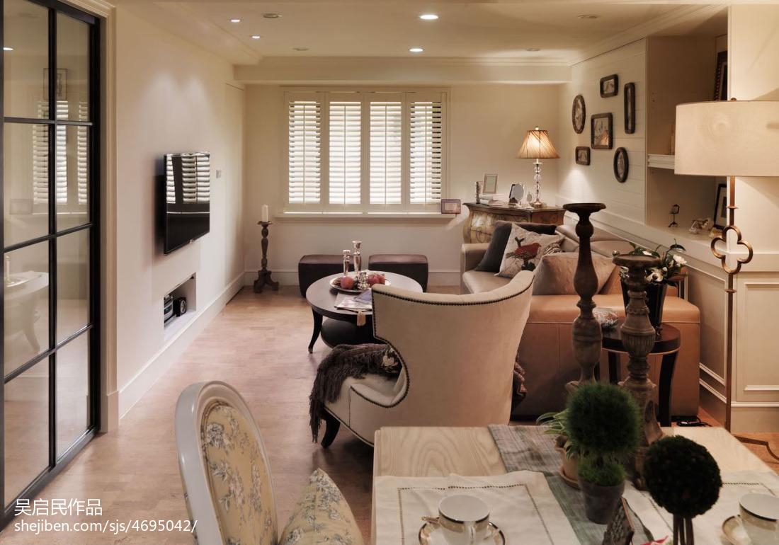 热门面积102平美式三居客厅装修设计效果图片欣赏