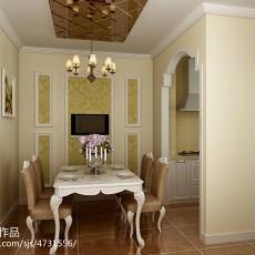 精选面积75平欧式二居餐厅实景图