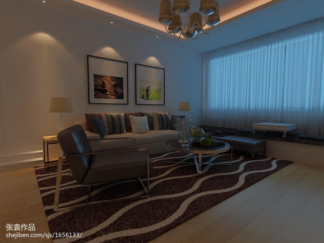 萤黄色打造现代简约风格复式楼客厅装修效果图大全