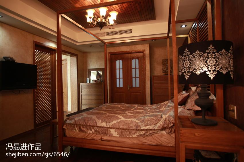面积116平复式卧室东南亚装修设计效果图片欣赏