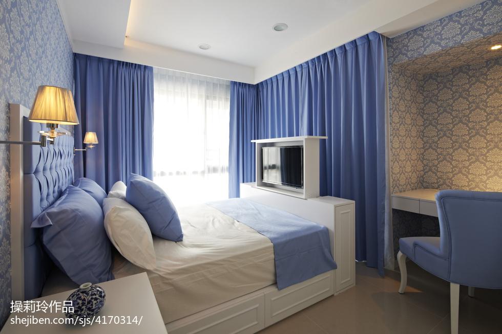 简约中式卧室窗帘装修设计