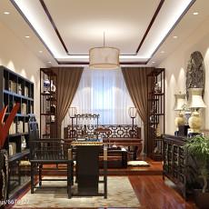 精选103平米三居书房中式装修欣赏图片大全