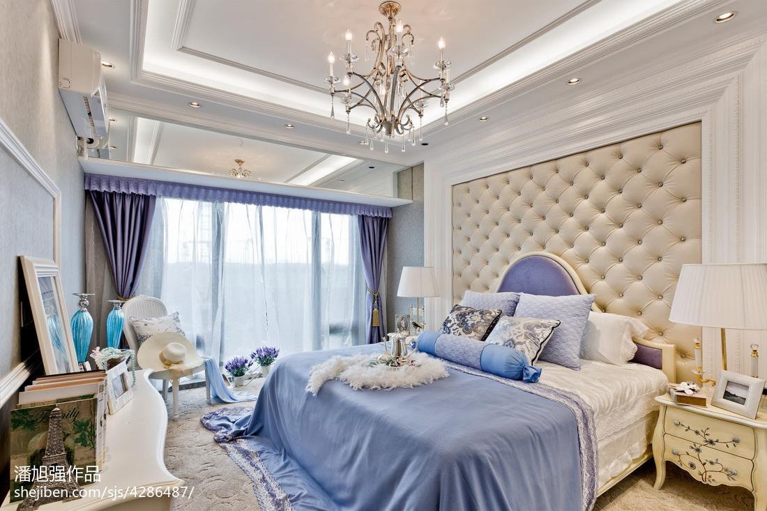 欧式卧室软包背景墙样板房效果图