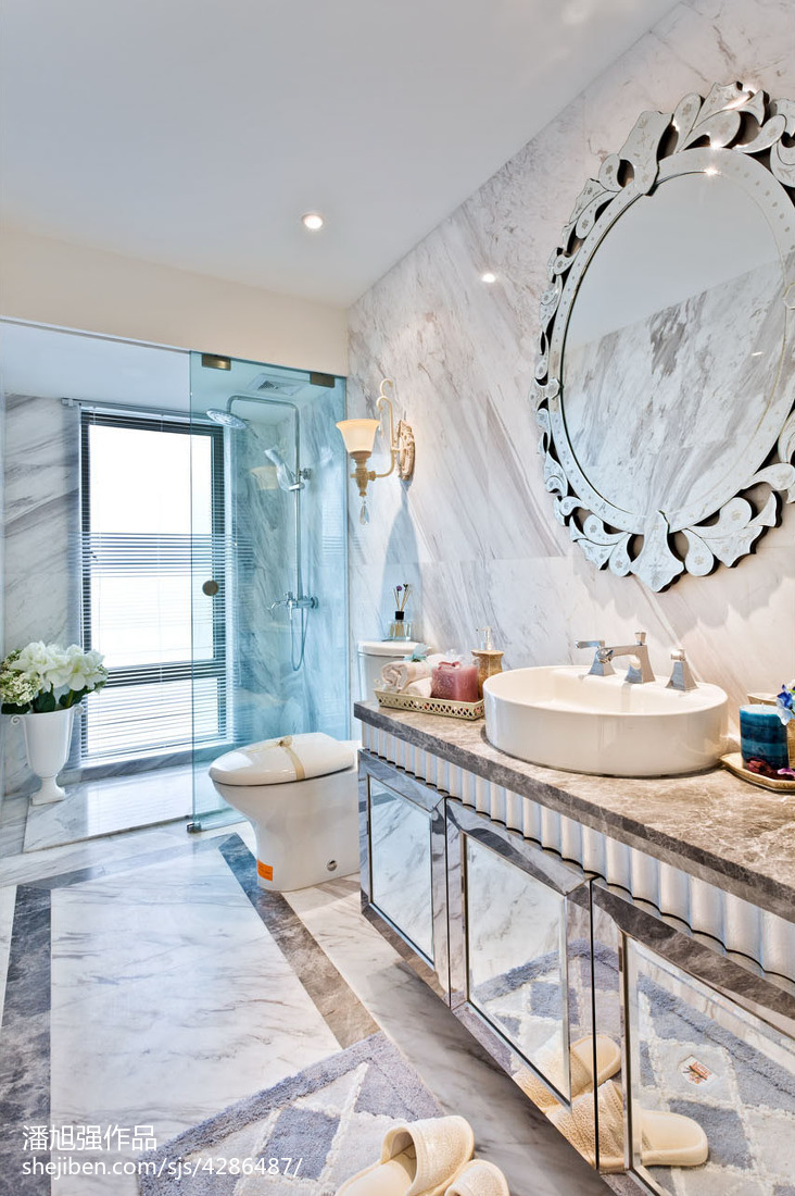 欧式卫生间大理石瓷砖样板房效果图