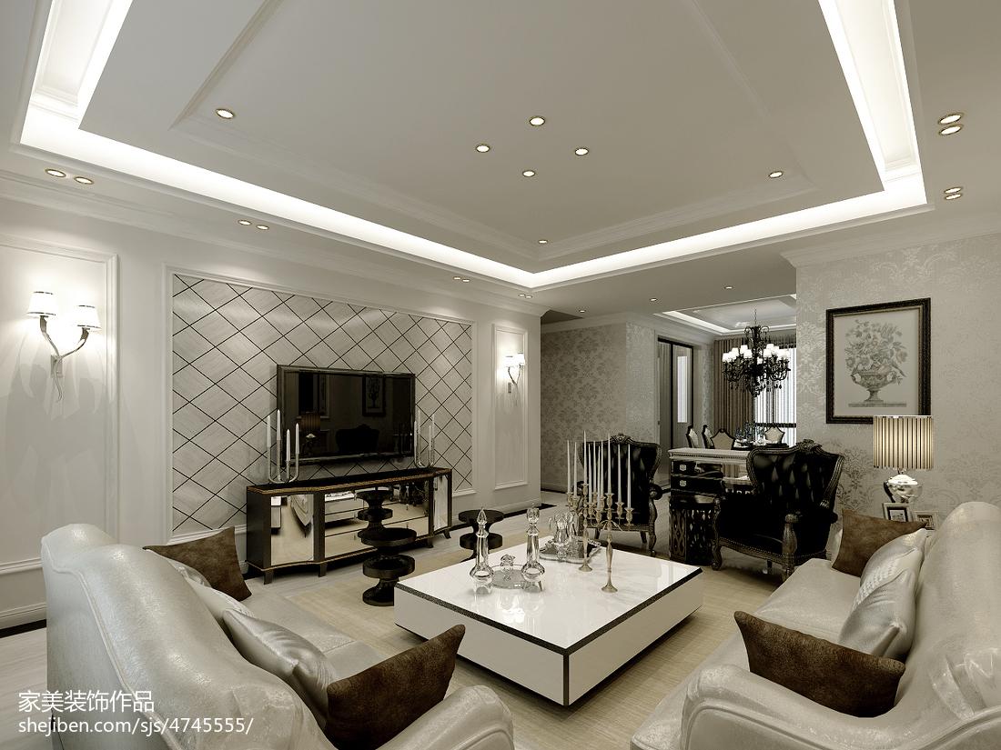 装修豪宅欧式石材客厅电视背景墙效果图片