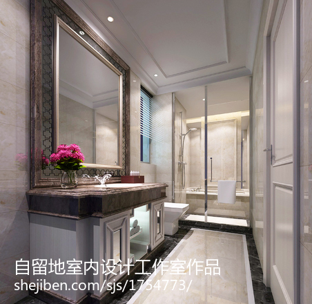 浪漫欧式粉色卫生间装修设计