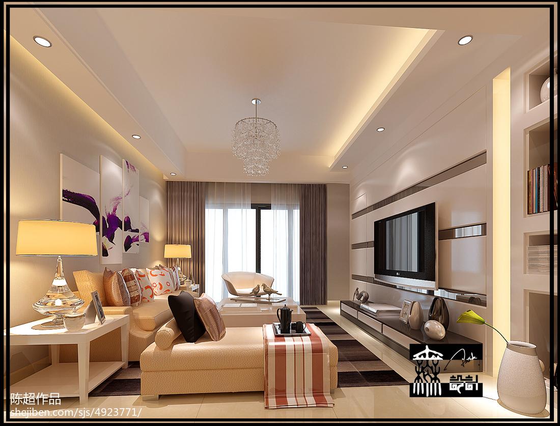 2013年现代简约三室一厅客厅装修图片