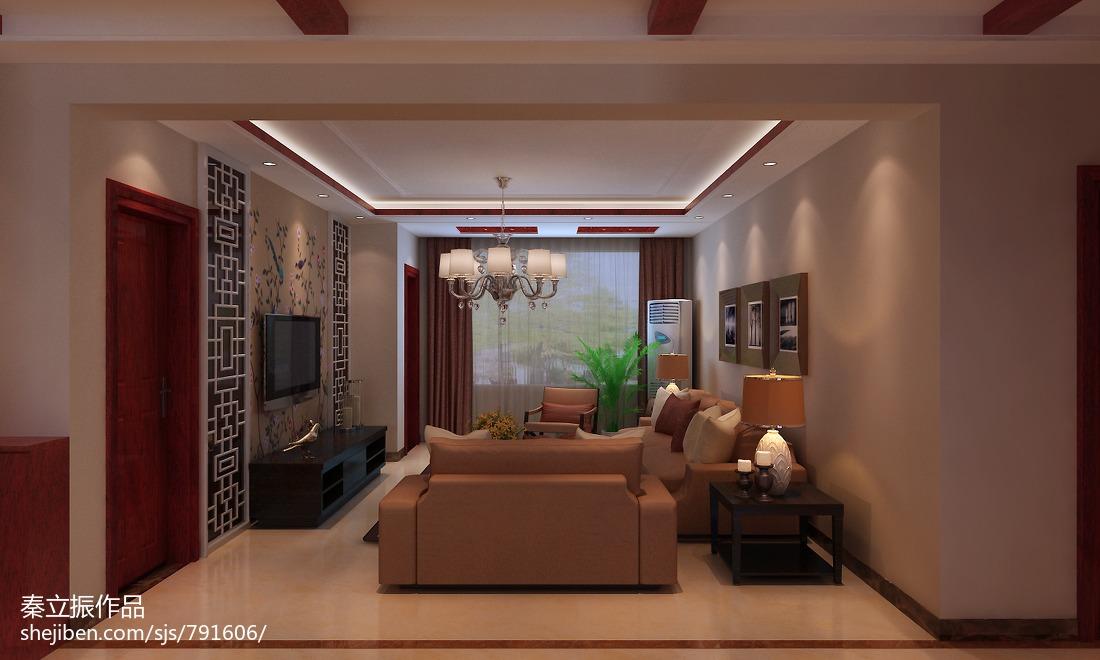 2018面积108平中式三居客厅装修效果图片大全