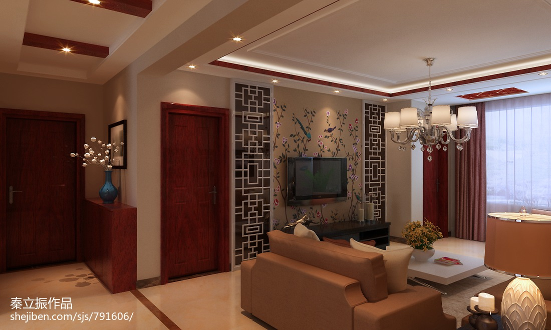 热门94平方三居客厅中式装饰图片大全