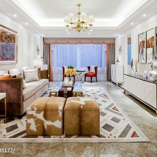 91.5平混搭客厅装饰图片