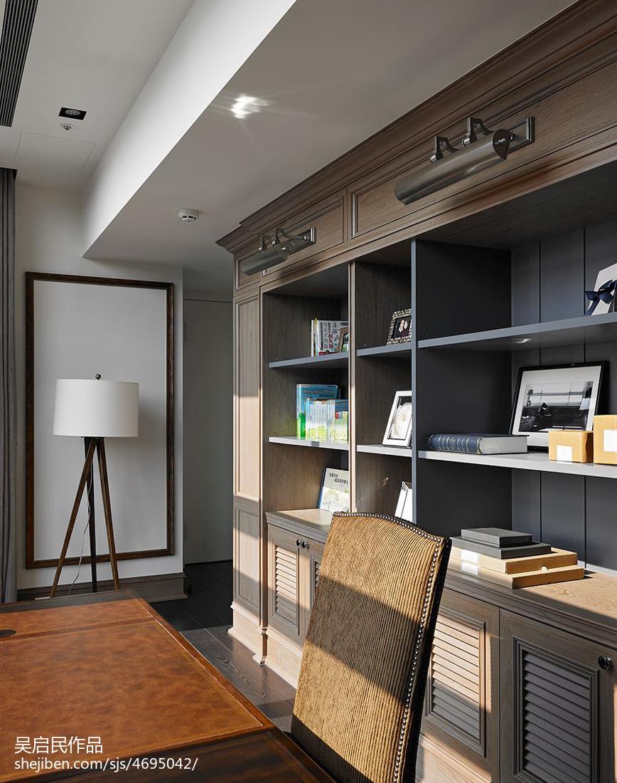 精美面积124平美式四居书房装修效果图片欣赏