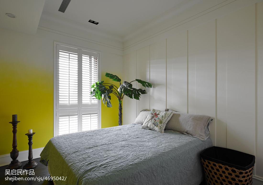 美式儿童房鹅黄色墙面装修效果图