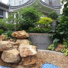2018中式别墅花园装修效果图