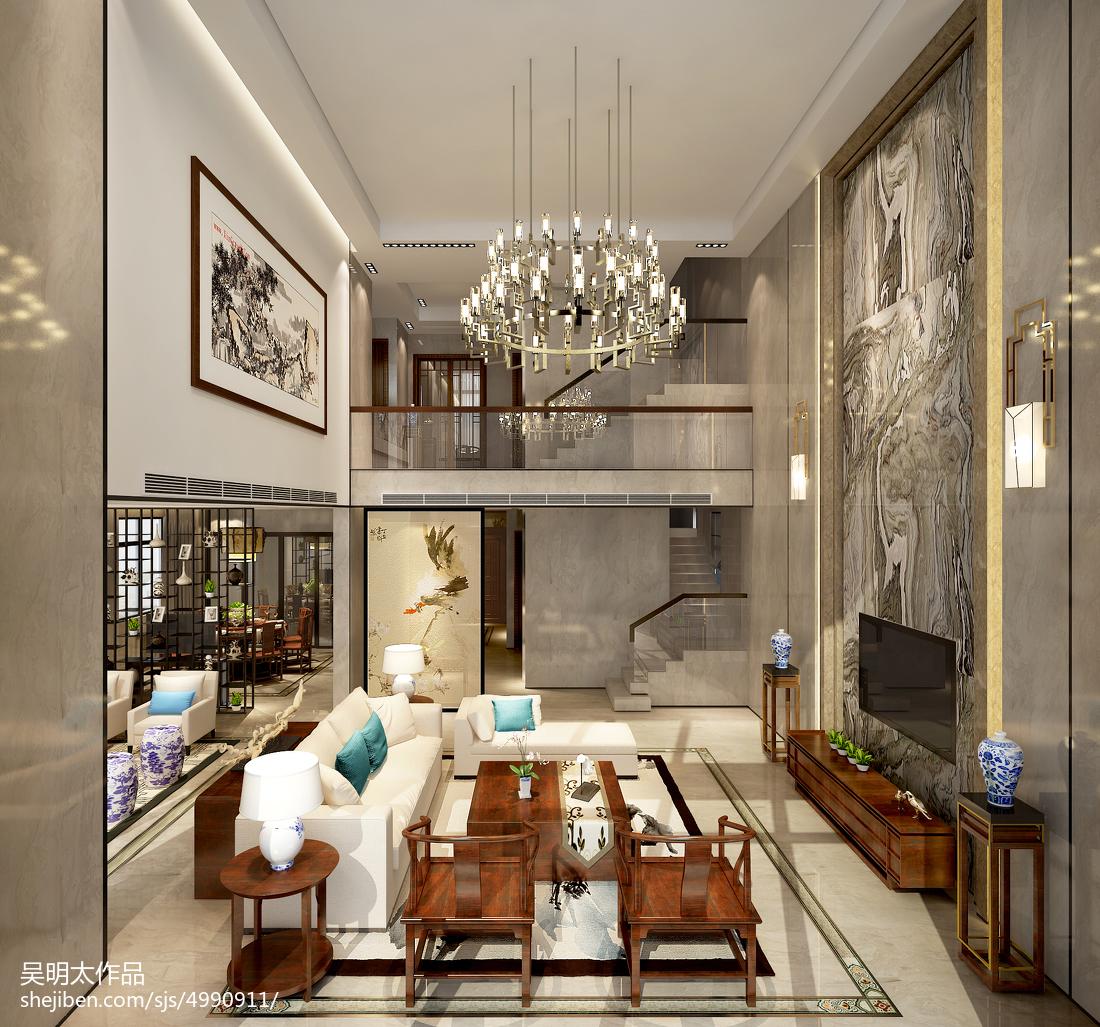 精美面积115平别墅客厅中式装修设计效果图片