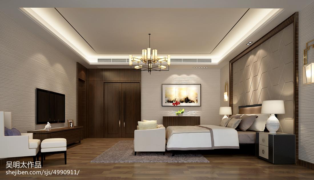 2018精选137平米中式别墅卧室效果图
